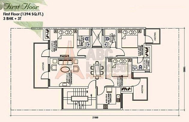 Ansal Mulberry Homes Floor Plan 3 BHK – 1394 Sq. Ft. - 1st Floor