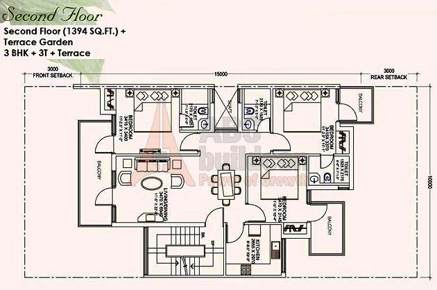 Ansal Mulberry Homes Floor Plan 3 BHK – 1394 Sq. Ft. - 2nd Floor