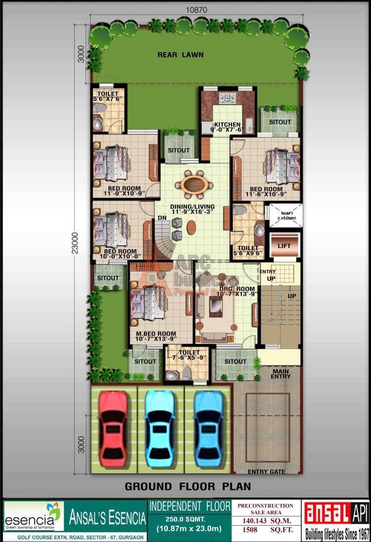 Ansal Sovereign Floor Plan 4 BHK – 1508 Sq. Ft. - Ground Floor