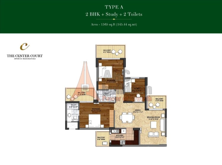Ashiana Landcraft Center Court Floor Plan 2 BHK + Study – 1565 Sq. Ft.