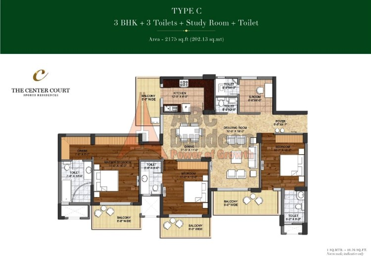 Ashiana Landcraft Center Court Floor Plan 3 BHK + Study – 2175 Sq. Ft.
