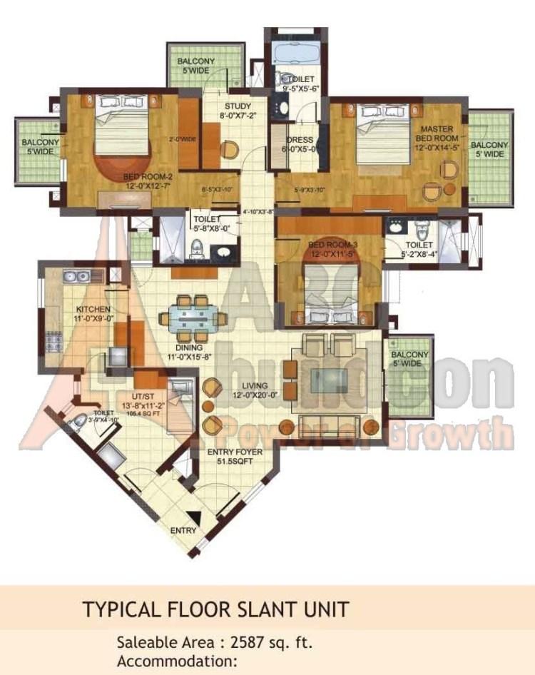 BPTP Freedom Park Life Floor Plan 3 BHK + S.R + Study – 2587 Sq. Ft.