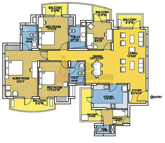 Bestech Park View City 2 Floor Plan 3 BHK + S.R + Study – 2153 Sq. Ft.