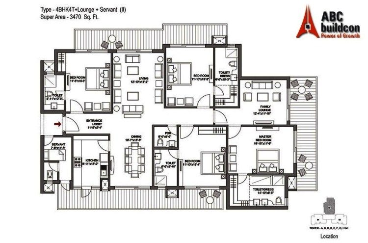Bestech Park View Grand Spa Floor Plan 4 BHK + S.R + F.L – 3470 Sq. Ft.