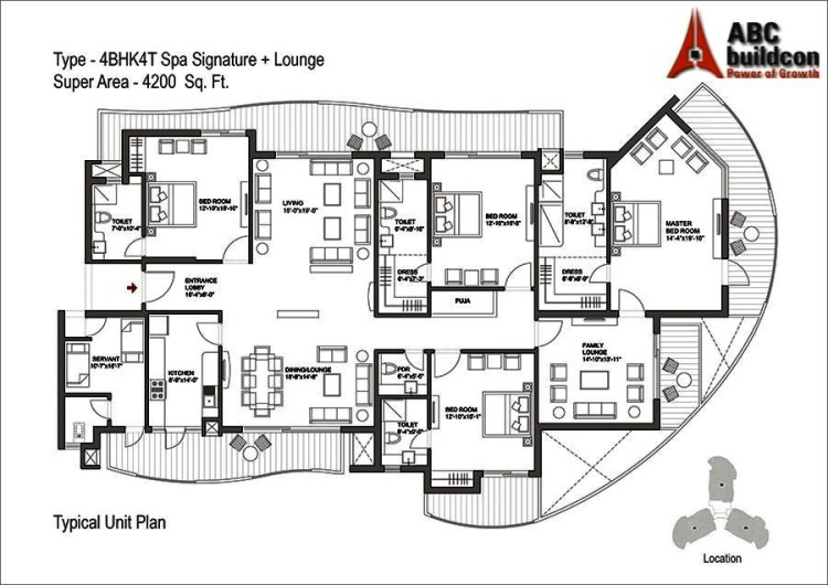 Bestech Park View Grand Spa Floor Plan 4 BHK + S.R + F.L – 4200 Sq. Ft.
