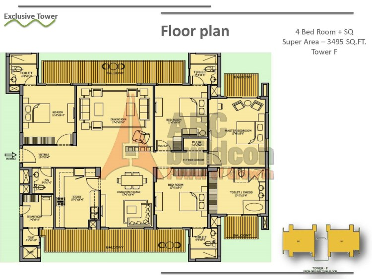 Bestech Park View Spa Floor plan 4 BHK + S.R + F.L + Pooja – 3495 Sq. Ft.