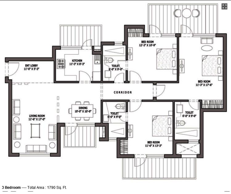Bestech Park View Spa Next Floor Plan 3 BHK – 1790 Sq. Ft.