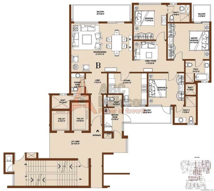 Central Park 2 Floor Plan 4 BHK + S.R – 3820 Sq. Ft. (Balgravia)