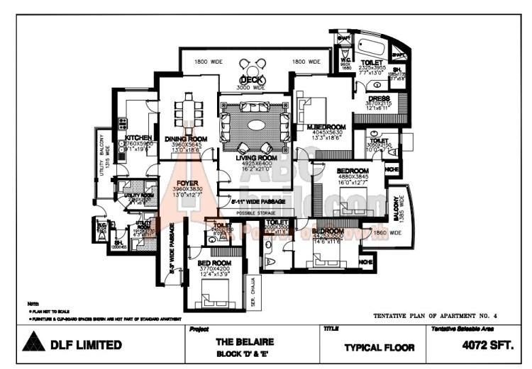 DLF Belaire Floor Plan 4 BHK + S.R + Store – 4072 Sq. Ft.