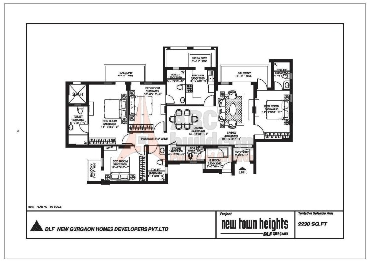 DLF New Town Heights Floor Plan 4 BHK + S.R + Store – 2230 Sq. Ft.