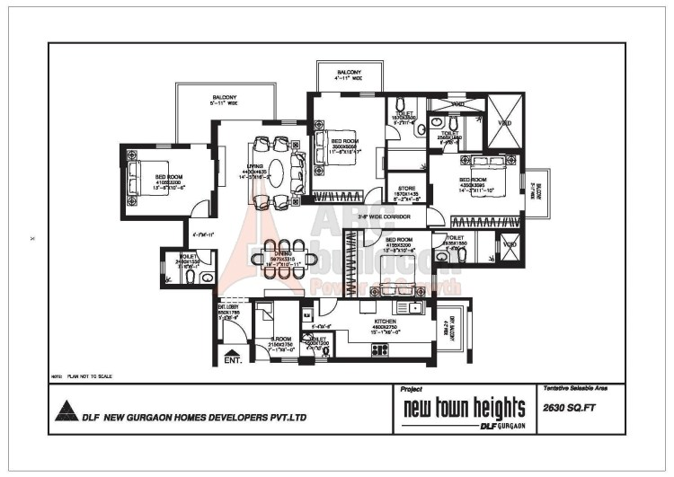 DLF New Town Heights Floor Plan 4 BHK + S.R + Store – 2630 Sq. Ft.