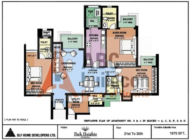 DLF Park Place Floor Plan 3 BHK + Utility – 1975 Sq. Ft.