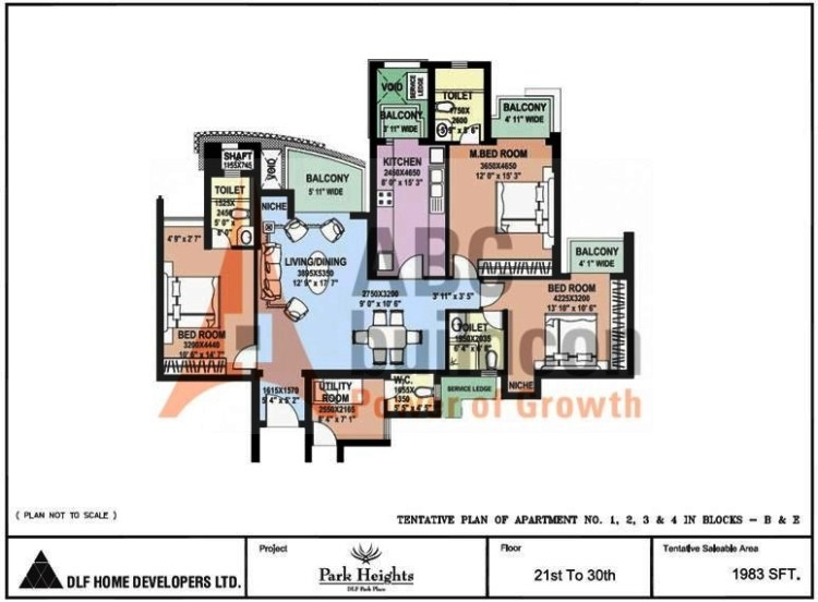DLF Park Place Floor Plan 3 BHK + Utility – 1983 Sq. Ft.