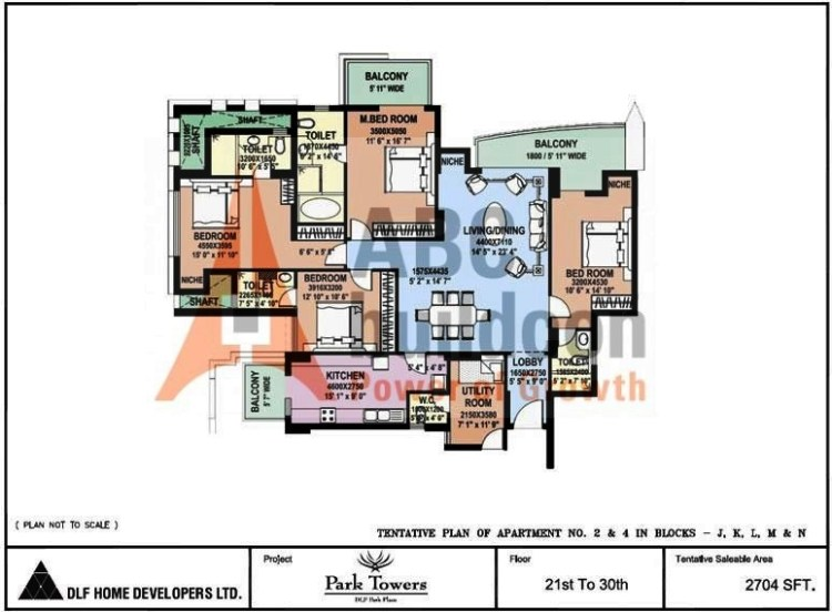 DLF Park Place Floor Plan 4 BHK + Utility – 2704 Sq. Ft.