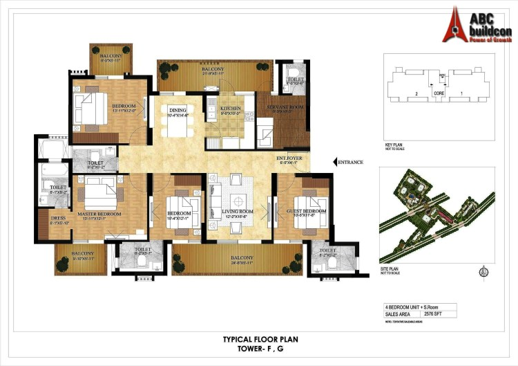 DLF Primus Floor Plan 4 BHK + S.R – 2576 Sq. Ft.
