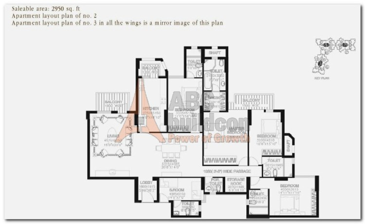 DLF Summit Floor Plan 4 BHK + S.R + Store – 2950 Sq. Ft.