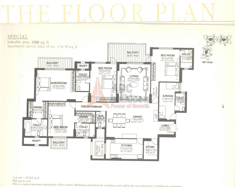 DLF Summit Floor Plan 4 BHK + S.R + Store – 3500 Sq. Ft.