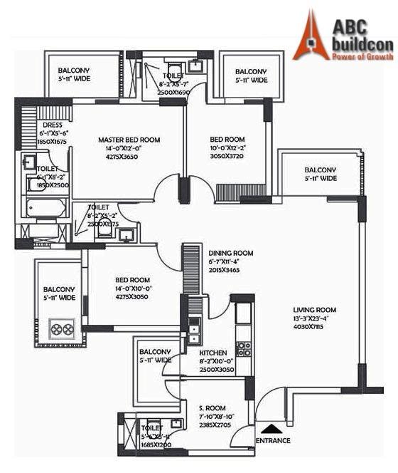 DLF Ultima Floor Plan 3 BHK + S.R – 2078 Sq. Ft.