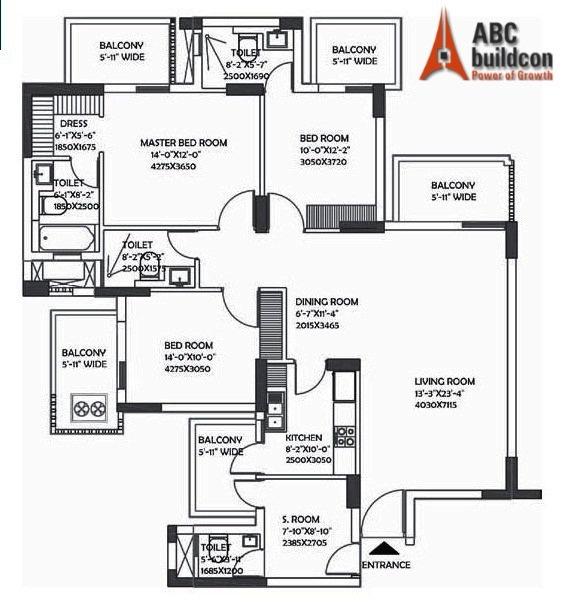 DLF Ultima Floor Plan 3 BHK + S.R – 2112 Sq. Ft.