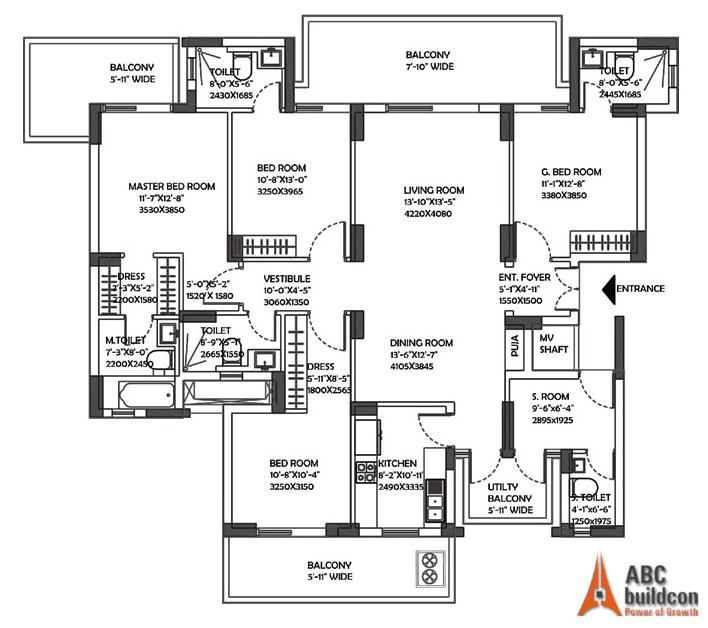 DLF Ultima Floor Plan 4 BHK + S.R – 2824 Sq. Ft.