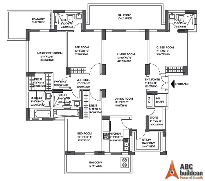 DLF Ultima Floor Plan 4 BHK + Store – 2584 Sq. Ft.