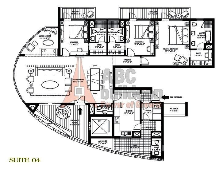 Emaar MGF Palm Drive Floor Plan 3 BHK + S.R + F.L + Utility – 3150 Sq. Ft.