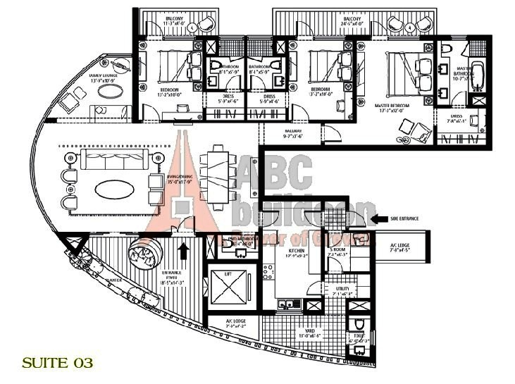 Emaar MGF Palm Drive Floor Plan 3 BHK + S.R + F.L + Utility – 3175 Sq. Ft.