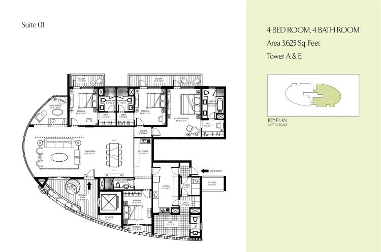 Emaar MGF Palm Drive Floor Plan 4 BHK + S.R + F.L + Utility – 3625 Sq. Ft.