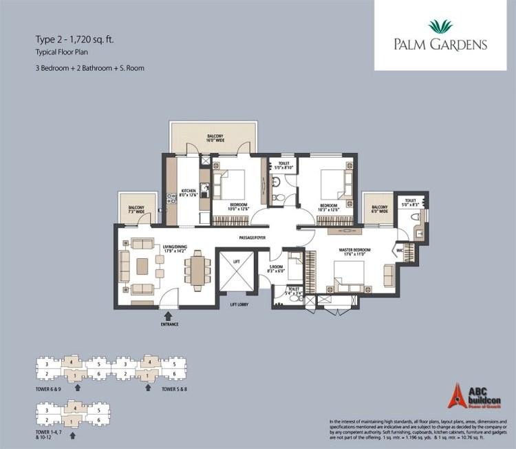 Emaar MGF Palm Gardens Floor Plan 3 BHK + S.R – 1720 Sq. Ft.