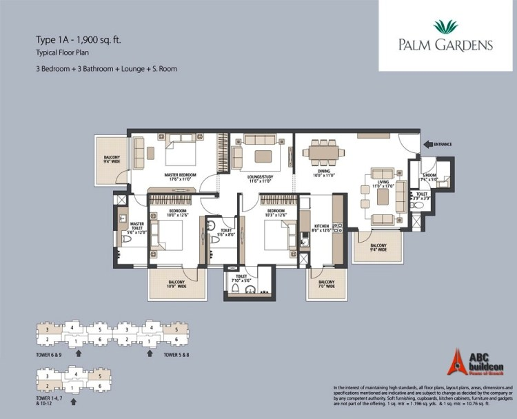 Emaar MGF Palm Gardens Floor Plan 3 BHK + S.R + F.L – 1900 Sq. Ft.
