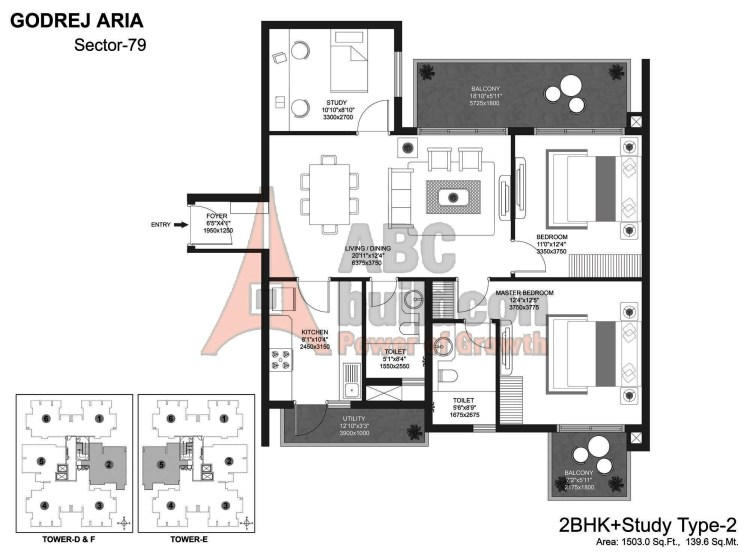 Godrej Aria Floor Plan 2 BHK + Study – 1503 Sq. Ft.