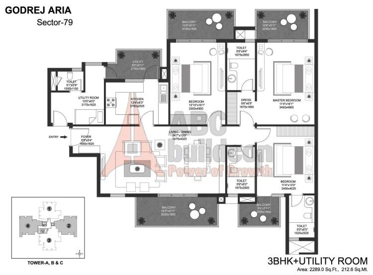 Godrej Aria Floor Plan 3 BHK + S.R – 2289 Sq. Ft.