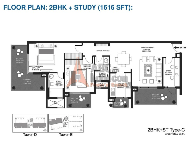 Godrej Oasis Floor Plan 2 BHK + Study – 1616 Sq. Ft.