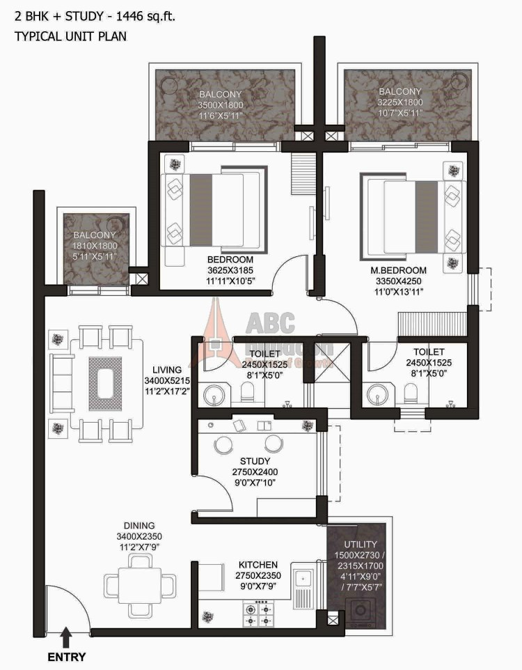 Godrej Summit Floor Plan 2 BHK+ Study + Utility – 1446 Sq. Ft.