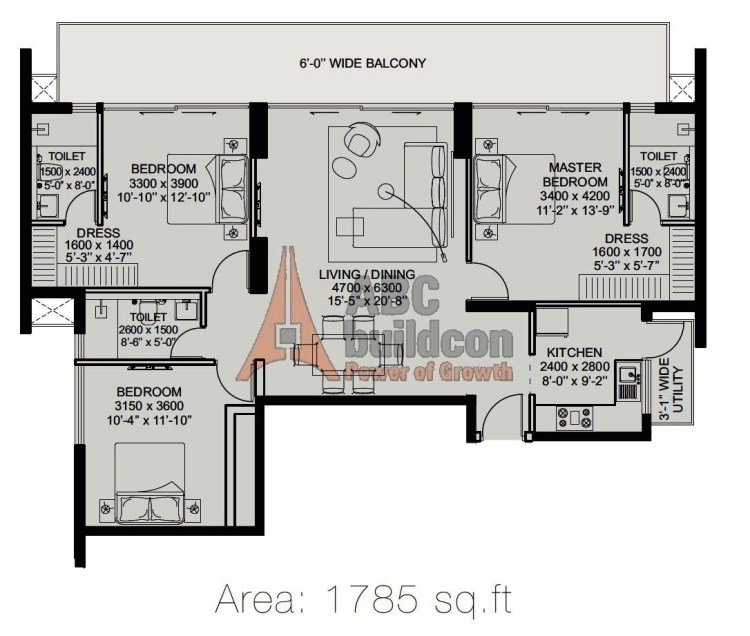 ILD Arete Floor Plan 3 BHK  – 1785 Sq. Ft.