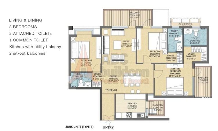 Ramprastha Rise Floor Plan 3 BHK – 1790 Sq. Ft.