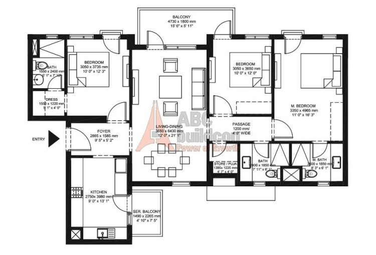 IREO Corridors Floor Plan 3 BHK + Store – 1727 Sq. Ft.