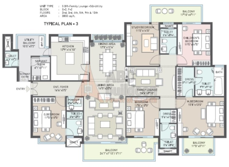 Indiabulls Enigma Floor Plan 5 BHK + S.R + F.L + Utility– 3780 Sq. Ft.