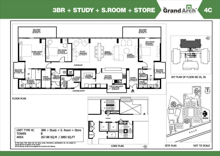 Ireo Grand Arch Floor Plan 3 BHK + S.R + Study – 2882 Sq. Ft.