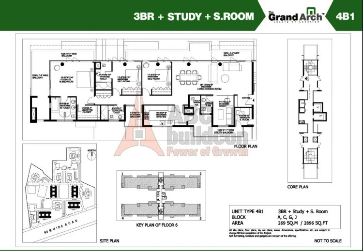 Ireo Grand Arch Floor Plan 3 BHK + S.R + Study – 2896 Sq. Ft.