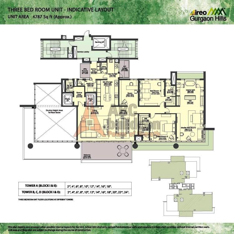 Ireo Gurgaon Hills Floor Plan 3 BHK + S.R + Study + Store – 4787 Sq. Ft.