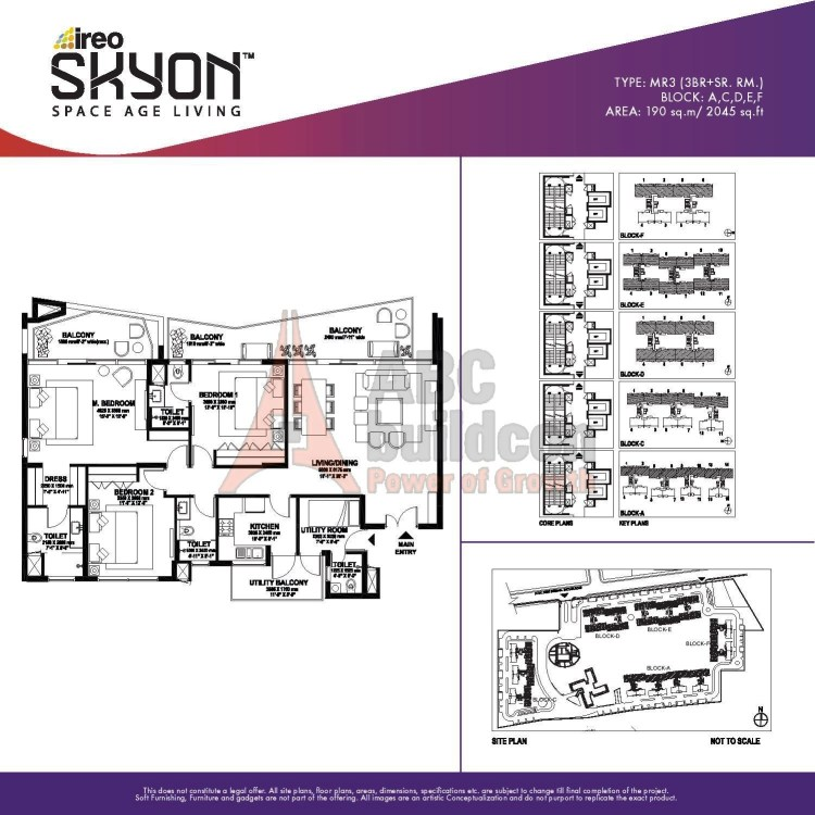 Ireo Skyon Floor Plan 3 BHK + S.R – 2045 Sq. Ft.