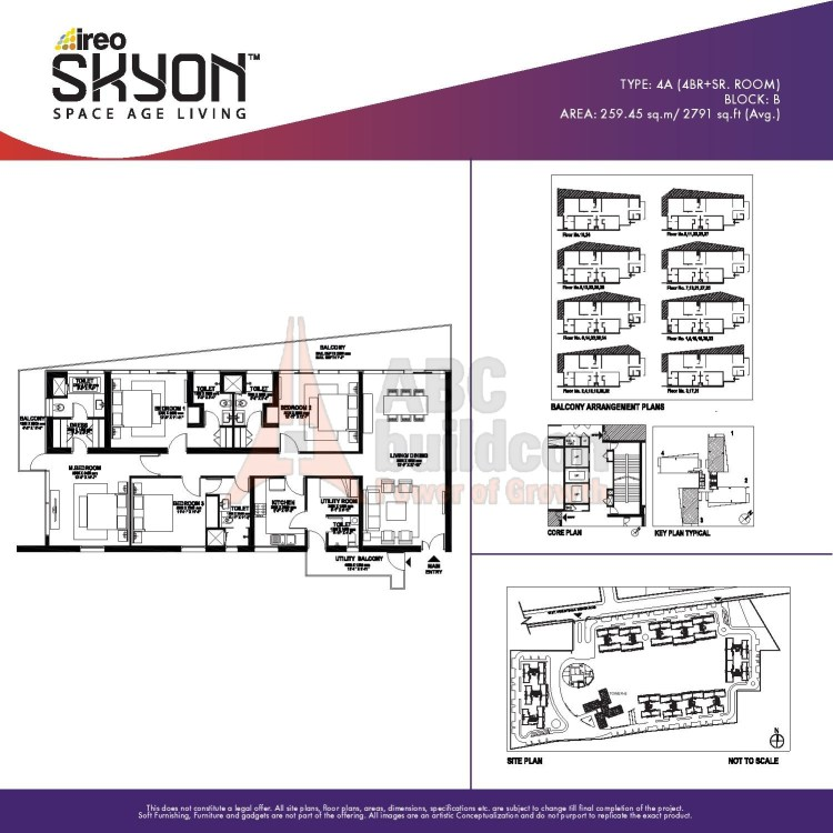 Ireo Skyon Floor Plan 4 BHK + S.R – 2791 Sq. Ft.