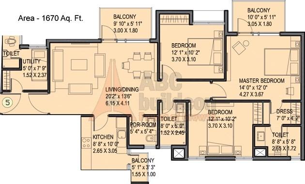 Ireo uptown floor plan 3 bhk utility 1670 sq ft