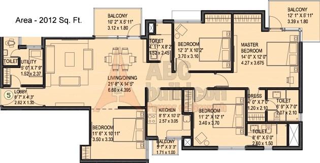 Ireo Uptown Floor Plan 4 BHK + Utility – 2012 Sq. Ft.