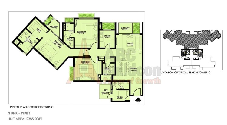 Ireo Victory Valley Floor Plan 3 BHK + S.R + Pooja Room – 2385 Sq. Ft.