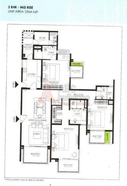 Ireo Victory Valley Floor Plan 3 BHK + S.R + Pooja Room – 2564 Sq. Ft.