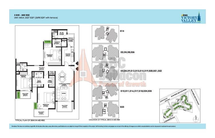Ireo Victory Valley Floor Plan 3 BHK + S.R + Pooja Room – 2698 Sq. Ft.