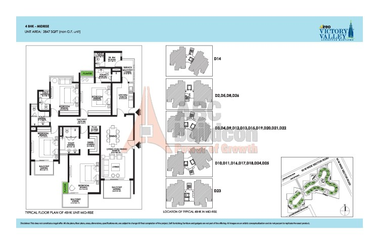 Ireo Victory Valley Floor Plan 4 BHK + S.R + Pooja Room – 2847 Sq. Ft.
