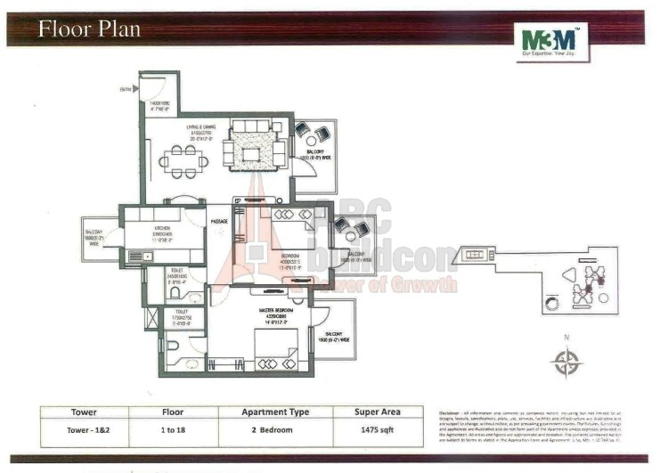 M3M Escala Floor Plan 2 BHK – 1475 Sq. Ft.